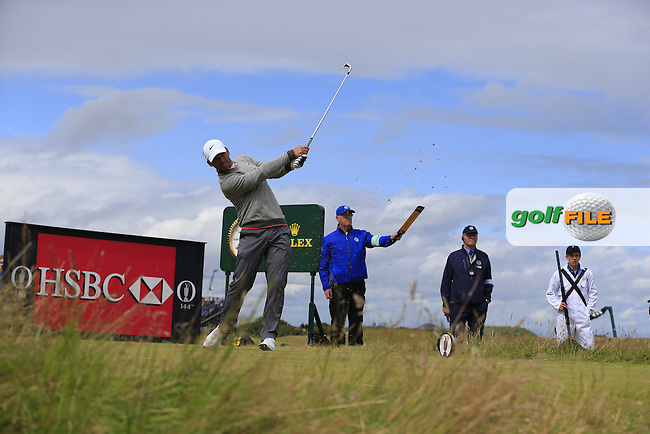 Paul CASEY (ENG) tees off during Sunday's Round 3 of the 144th Open Championship, St Andrews Old Course, St Andrews, Fife, Scotland. 19/07/2015.<br /> Picture Eoin Clarke, www.golffile.ie