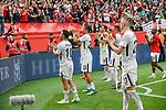 14.04.2018, BayArena, Leverkusen , GER, 1.FBL., Bayer 04 Leverkusen vs. Eintracht Frankfurt<br /> im Bild / picture shows: <br /> die Mannschaft verabschiedet sich von den Fans<br /> Marco Fabian (Frankfurt #10),  <br /> Timothy Chandler (Frankfurt #22),  <br /> Marius Wolf (Frankfurt #27), <br /> David Abraham (Frankfurt #19),  <br /> Simon Falette (Frankfurt #3),  <br /> <br /> <br /> Foto &copy; nordphoto / Meuter