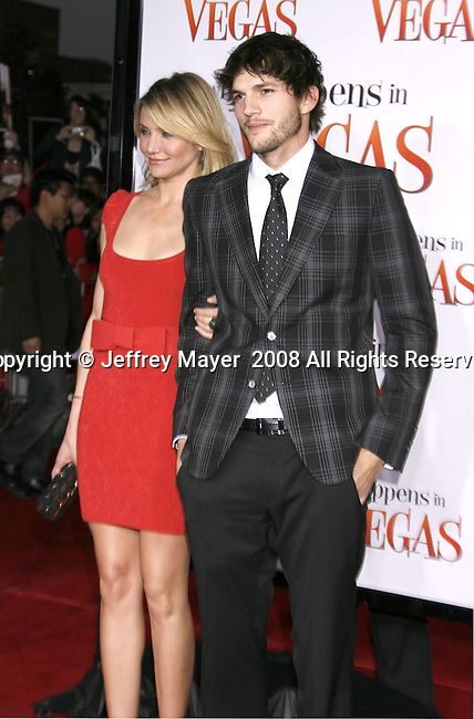 "Actress Cameron Diaz and Actor Ashton Kutcher arrive at the Premiere Of Fox's ""What Happens In Vegas"" on May 1, 2008 at the Mann Village Theatre in Los Angeles, California."