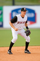 Third baseman Jon Gilmore #20 of the Kannapolis Intimidators on defense versus the Lake County Captains at Fieldcrest Cannon Stadium May 3, 2009 in Kannapolis, North Carolina. (Photo by Brian Westerholt / Four Seam Images)