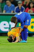 26th March 2018, nib Stadium, Perth, Australia; Womens International football friendly, Australia Women versus Thailand Women; Chloe Logarzo of the Matildas goes to ground after a heavy tackle from Warunee Phetwiset of Thailand