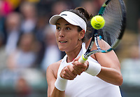 Garbine Muguruza (14) of Spain in action during her victory over Svetlana Kuznetsova of Russia in their Ladies' Quarter Finals Match today<br /> <br /> Photographer Ashley Western/CameraSport<br /> <br /> Wimbledon Lawn Tennis Championships - Day 8 - Tuesday 11th July 2017 -  All England Lawn Tennis and Croquet Club - Wimbledon - London - England<br /> <br /> World Copyright &not;&copy; 2017 CameraSport. All rights reserved. 43 Linden Ave. Countesthorpe. Leicester. England. LE8 5PG - Tel: +44 (0) 116 277 4147 - admin@camerasport.com - www.camerasport.com