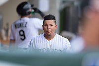 Salt River Rafters right fielder Yonathan Daza (11), of the Colorado Rockies organization, during an Arizona Fall League game against the Mesa Solar Sox on October 30, 2017 at Salt River Fields at Talking Stick in Scottsdale, Arizona. The Solar Sox defeated the Rafters 8-4. (Zachary Lucy/Four Seam Images)