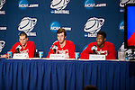 Wisconsin Badgers teammates Ben Brust (left to right), Frank Kaminsky and Nigel Hayes talk to the media after the fourth-round game in the NCAA college basketball tournament against the Baylor Bears Thursday, March 27, 2014 in Anaheim, California. The Badgers won 69-52. (Photo by David Stluka)