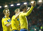 Hibs v St Johnstone...21.01.12.Fran Sandaza celebrates his goal.Picture by Graeme Hart..Copyright Perthshire Picture Agency.Tel: 01738 623350  Mobile: 07990 594431