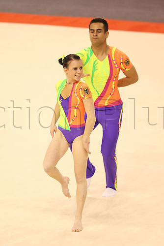 27.10.2011, Varna, Bulgaria. Marcel Becker and Janina Huck ger during Seniors Mix Pairs Qualification at The 2011 European Acrobatic Gymnastics Championships. Mandatory credit:ActionPlus