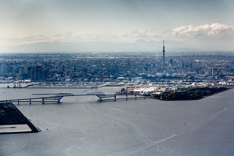 Tokyo, May 2013 - Flying above Tokyo bay, with the Tokyo Skytree in the background.