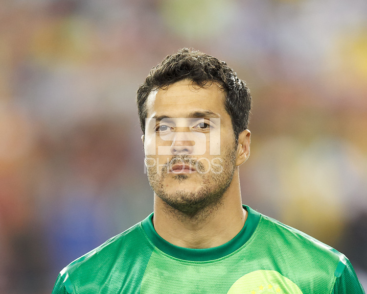 Brazil goalkeeper Julio Cesar (12). In an international friendly, Brazil (yellow/blue) defeated Portugal (red), 3-1, at Gillette Stadium on September 10, 2013.