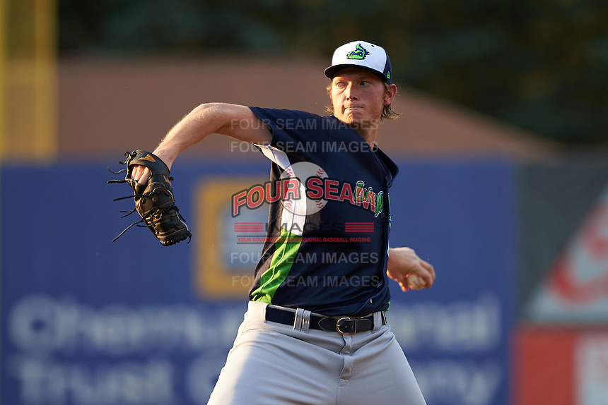 Vermont Lake Monsters starting pitcher A.J. Puk (45) delivers a warmup pitch during the second inning of his professional debut against the Auburn Doubledays on July 12, 2016 at Falcon Park in Auburn, New York.  Auburn defeated Vermont 3-1.  (Mike Janes/Four Seam Images)