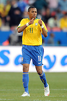 Robinho of Brazil celebrates scoring his side's second goal. Brazil defeated USA 3-0 during the FIFA Confederations Cup at Loftus Versfeld Stadium in Tshwane/Pretoria, South Africa on June 18, 2009.