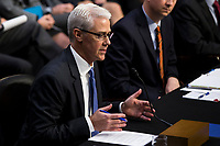 Facebook General Counsel Colin Stretch as he testifies before the United States Senate Intelligence Committee during a hearing to examine social media influence in the 2016 United States elections on Capitol Hill in Washington, D.C. on November 1st, 2017. <br /> Credit: Alex Edelman / CNP /MediaPunch