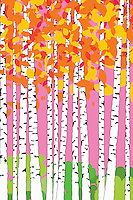 Abstract pattern of birch trees with autumn leaves