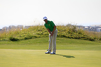 Alex Gleeson (IRL) on the 14th green during the Afternoon Singles between Ireland and Wales at the Home Internationals at Royal Portrush Golf Club on Thursday 13th August 2015.<br /> Picture:  Thos Caffrey / www.golffile.ie