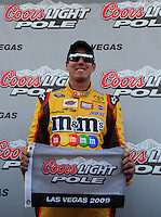 Feb. 27, 2009; Las Vegas, NV, USA; NASCAR Sprint Cup Series driver Kyle Busch after winning the pole during qualifying for the Shelby 427 at Las Vegas Motor Speedway. Mandatory Credit: Mark J. Rebilas-