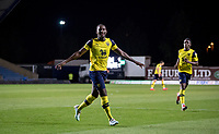 Shandon Baptiste of Oxford United celebrates his winning goal during the The Leasing.com Trophy match between Oxford United and Norwich City U21 at the Kassam Stadium, Oxford, England on 3 September 2019. Photo by Andy Rowland.