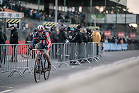 Stephen Hyde (USA/Cannondale-Cyclocrossworld.com) going into the last lap.<br /> <br /> Elite Men's Race<br /> UCI CX World Cup Zolder / Belgium 2017