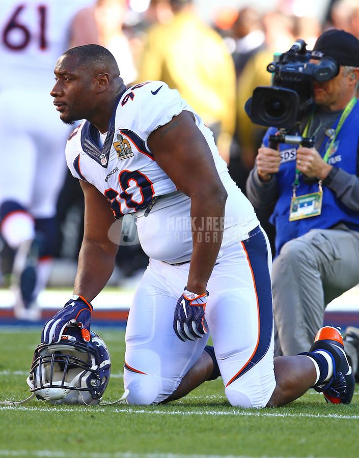 Feb 7, 2016; Santa Clara, CA, USA; Denver Broncos defensive end Antonio Smith (90) against the Carolina Panthers in Super Bowl 50 at Levi's Stadium. Mandatory Credit: Mark J. Rebilas-USA TODAY Sports