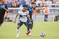 SAN JOSE, CA - AUGUST 24: Yordy Reyna #29 of the Vancouver Whitecaps challenges Vako Qazaishvili #11 of the San Jose Earthquakes during a game between Vancouver Whitecaps FC and San Jose Earthquakes at Avaya Stadium on August 24, 2019 in San Jose, California.