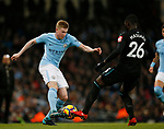 Kevin De Bruyne of Manchester City faces up to Arthur Masuaka of West Ham United during the premier league match at the Etihad Stadium, Manchester. Picture date 3rd December 2017. Picture credit should read: Andrew Yates/Sportimage