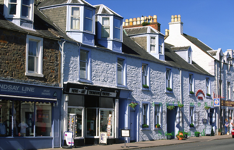 Shope and businesses on Saint Cuthbert Street in town centre Kirkcudbright Galloway Scotland UK