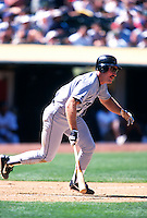 OAKLAND, CA - Wade Boggs of the Tampa Bay Devil Rays bats during a game against the Oakland Athletics at the Oakland Coliseum in Oakland, California in 1998. Photo by Brad Mangin