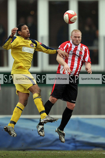 Dave Collis (Hornchurch) heads clear. AFC Hornchurch Vs Croydon Athletic. Ryman Premier League. The Stadium. Essex. 05/03/2011. MANDATORY CREDIT Sportinpictures/Garry Bowden