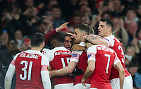 Arsenal's players celebrating Pierre - Emerick Aubameyang goal during the UEFA Europa League match between Arsenal and Rennes at the Emirates Stadium, London, England on 14 March 2019. Photo by Andrew Aleksiejczuk / PRiME Media Images.