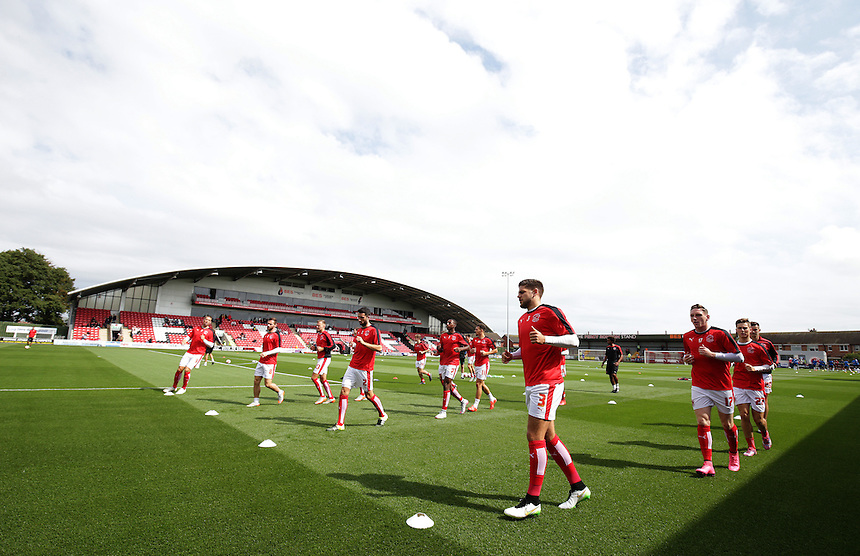 Fleetwood Town players during the pre-match warm-up <br /> <br /> Photographer Stephen White/CameraSport<br /> <br /> Football - The Football League Sky Bet League One - Fleetwood Town v Colchester United - Saturday 22nd August 2015 - Highbury Stadium - Fleetwood<br /> <br /> &copy; CameraSport - 43 Linden Ave. Countesthorpe. Leicester. England. LE8 5PG - Tel: +44 (0) 116 277 4147 - admin@camerasport.com - www.camerasport.com
