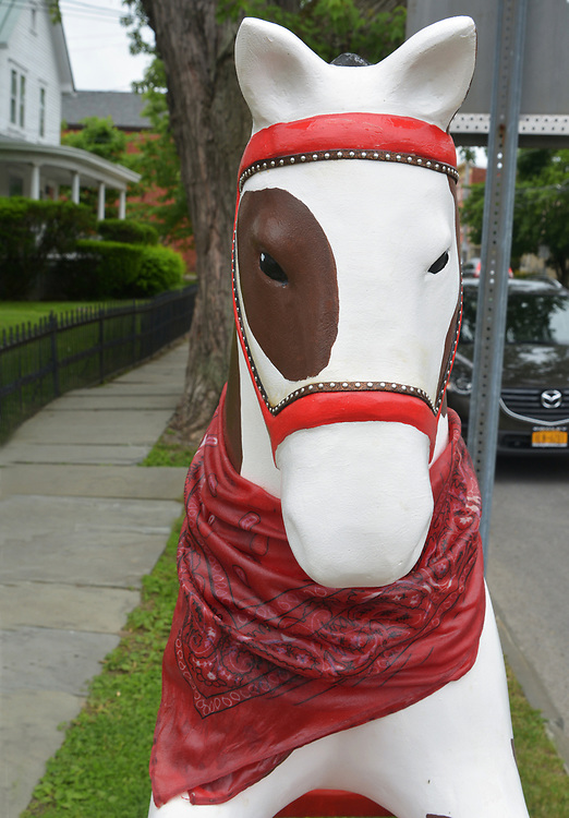 "A view of ""Rockin' Cowboy"" created by artist, Robin LaPeruta, one of the ""Rockin' Around Saugerties"" theme Statues on display throughout the Village of Saugerties, NY, on Sunday, June 4, 2017. Photo by Jim Peppler. Copyright/Jim Peppler-2017."