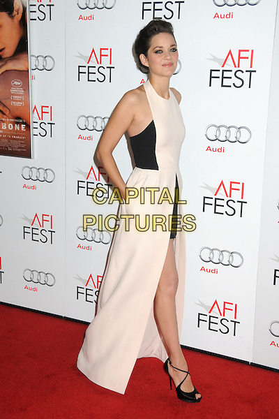"Marion Cotillard.AFI FEST 2012 ""Rust And Bone"" Centerpiece Gala Screening held at the Egyptian Theatre, Hollywood, California, USA.  .November 5th, 2012.full length dress sleeveless maxi mini hand in pocket train white halterneck  .CAP/ADM/BP.©Byron Purvis/AdMedia/Capital Pictures."