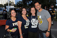 20 December 2011:  FIU Alumnus Danny Pino ('96)(far right), who was cast as a series regular on NBC's Law & Order:  Special Victims Unit, poses with FIU's social media manager Betsy Soler (far left) and the editor of FIU Magazine, Deborah O'Neil (middle right) prior to the game.  The Marshall University Thundering Herd defeated the FIU Golden Panthers, 20-10, to win the Beef 'O'Brady's St. Petersburg Bowl at Tropicana Field in St. Petersburg, Florida.