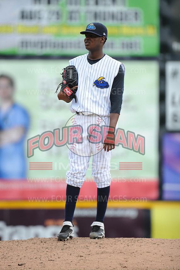 Trenton Thunder pitcher Francisco Rondon (52) during game against the Harrisburg Senators at ARM & HAMMER Park on July 31, 2013 in Trenton, NJ.  Harrisburg defeated Trenton 5-3.  (Tomasso DeRosa/Four Seam Images)
