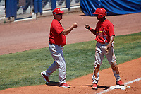 Palm Beach Cardinals manager Dann Bilardello (11) fist bumps a player on third base during a game against the Charlotte Stone Crabs on April 12, 2017 at Charlotte Sports Park in Port Charlotte, Florida.  Palm Beach defeated Charlotte 8-7 in ten innings.  (Mike Janes/Four Seam Images)