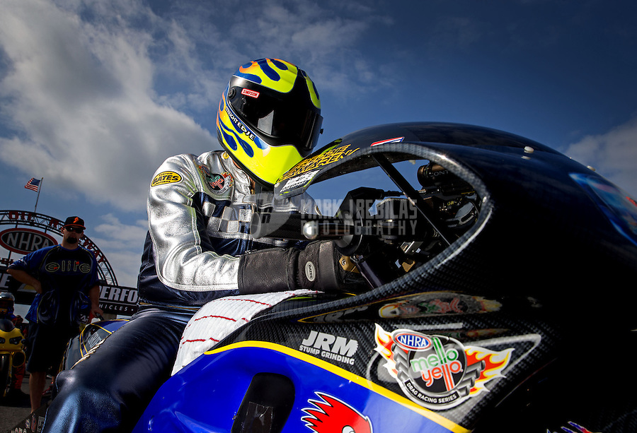 Sept. 1, 2013; Clermont, IN, USA: NHRA pro stock motorcycle rider Fred Camarena during qualifying for the US Nationals at Lucas Oil Raceway. Mandatory Credit: Mark J. Rebilas-