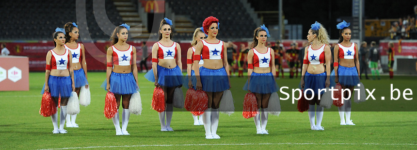 20170613 - LEUVEN ,  BELGIUM : Cheerleaders  pictured during the female soccer game between the Belgian Red Flames and Japan , a friendly game before the European Championship in The Netherlands 2017  , Tuesday 13 th Juin 2017 at Stadion Den Dreef  in Leuven , Belgium. PHOTO SPORTPIX.BE | DIRK VUYLSTEKE