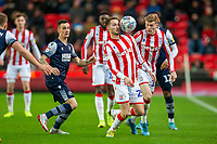 11th January 2020; Bet365 Stadium, Stoke, Staffordshire, England; English Championship Football, Stoke City versus Milwall FC; Nick Powell of Stoke City has his eye on the ball - Strictly Editorial Use Only. No use with unauthorized audio, video, data, fixture lists, club/league logos or 'live' services. Online in-match use limited to 120 images, no video emulation. No use in betting, games or single club/league/player publications