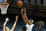 05 December 2012: North Carolina's Xylina McDaniel (right) shoots the ball. The University of North Carolina Tar Heels played the Radford University Highlanders at Carmichael Arena in Chapel Hill, North Carolina in an NCAA Division I Women's Basketball game. UNC won the game 64-44.