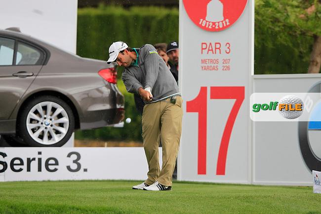 Edoardo Molinari (ITA) tees off on the par3 17th hole during Thursday's Round 1 of the Open de Espana at Real Club de Golf de Sevilla, Seville, Spain, 3rd May 2012 (Photo Eoin Clarke/www.golffile.ie)