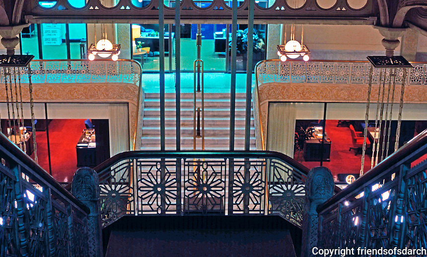F.L. Wright: Rookery Building Lobby--from upper stairs.  Photo '76.