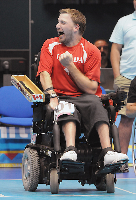November 16 2011 - Guadalajara, Mexico:  Adam Dukovich celebrates after winning the Gold Medal in Boccia BC2 in the Multipurpose Gymnasium Revolución at the 2011 Parapan American Games in Guadalajara, Mexico.  Photos: Matthew Murnaghan/Canadian Paralympic Committee