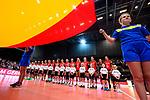 25.08.2018, …VB Arena, Bremen<br />Volleyball, LŠ&auml;nderspiel / Laenderspiel, Deutschland vs. Niederlande<br /><br />Team Deutschland waehrend Hymne / Flagge<br /><br />  Foto &copy; nordphoto / Kurth