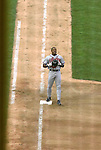 As seen through the left field foul pole, the Braves' Brian Jordan stops on first base after grounding out to end the top of the seventh after his apparent game tying home run was changed to a foul ball on appeal on Monday, May 30, 2005. The Washington Nationals defeated the Atlanta Braves 3-2 at RFK Stadium in Washington, DC.
