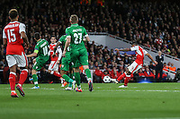 Theo Walcott of Arsenal (right) scores his team's 2nd goal of the game to make it 2-0 during the UEFA Champions League match between Arsenal and PFC Ludogorets Razgrad at the Emirates Stadium, London, England on 19 October 2016. Photo by David Horn / PRiME Media Images.