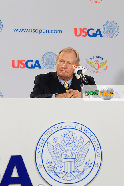 Jack Nicklaus (USA) gives a press conference to announce the launch of a new film commerating Jack's 1962 US Open victory and to dedicate The US Open Champion's Medal in Jack's name and plans to expand the USGA Museum with a Jack Nicklaus Room during Wednesday's Practice Day of the 112th US Open Championship at The Olympic Club, San Francisco,  California, 13th June 2012 (Photo Eoin Clarke/www.golffile.ie)