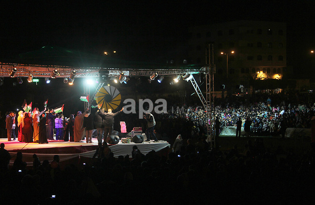 Palestinians attend a concert by Birds of Paradise group during an Islamic song festival in Gaza City on December 20, 2012. Photo by Ezz Zanoun