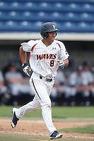 Kolten Yamaguchi #8 of the Pepperdine Waves runs to first base during a game against the BYU Cougars at Eddy D. Field Stadium on April 10, 2014 in Malibu, California. BYU defeated Pepperdine, 1-0. (Larry Goren/Four Seam Images)