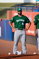 Daytona Tortugas pitcher Aaron Fossas (48) before a game against the St. Lucie Mets on August 3, 2018 at First Data Field in Port St. Lucie, Florida.  Daytona defeated St. Lucie 3-2.  (Mike Janes/Four Seam Images)