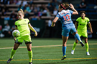 Seattle, WA - Sunday, May 22, 2016: Seattle Reign FC midfielder Kim Little (8) traps the ball during a regular season National Women's Soccer League (NWSL) match at Memorial Stadium. Chicago Red Stars won 2-1.