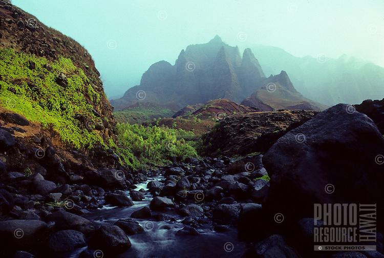 Kalalau Cathedrals, with stream. Napali Coast, Kauai