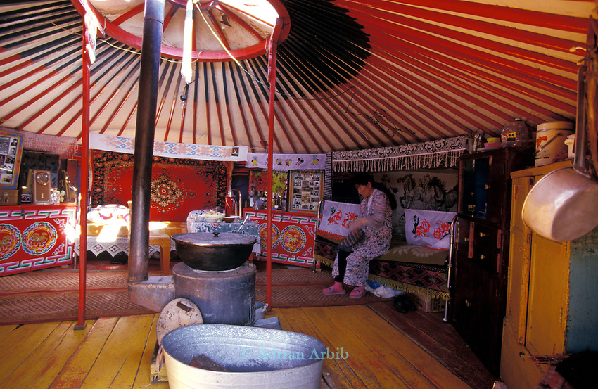 Inside a traditional Ger home,   Outer Mongolia.  Tsataan Uul.